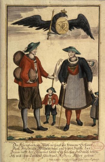 Allegorie Salzburger Bauern unter dem Schutz des preußischen Adlers