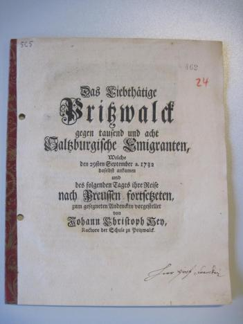 Bericht des Pritzwalker Schulrektors Hey 1732