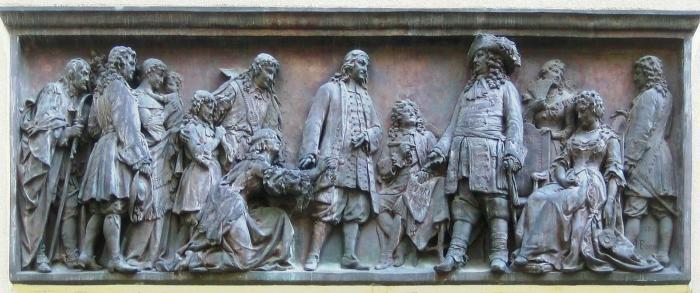 001 Empfang der Hugenotten. Relief von Johannes Boese am Eingang des Französischen Domes in Berlin, 1885