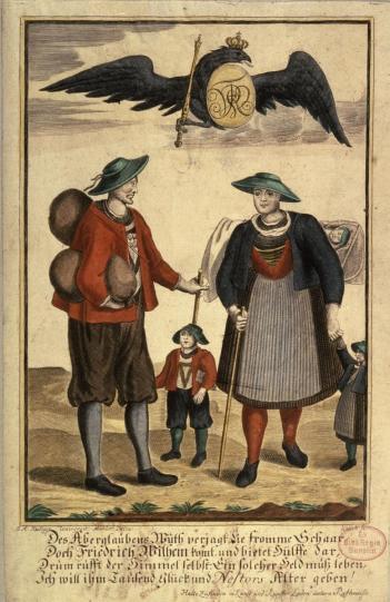 003 Allegorie Salzburger Bauern unter dem Schutz des preußischen Adlers